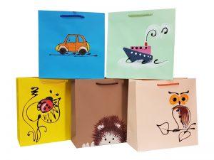 Torby papierowe Hand Made ręcznie zdobione wzory dla dzieci.